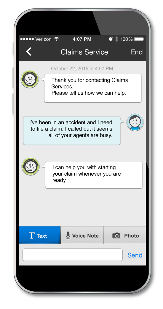 Multi-modal communications include chat, text, voice memo, and images
