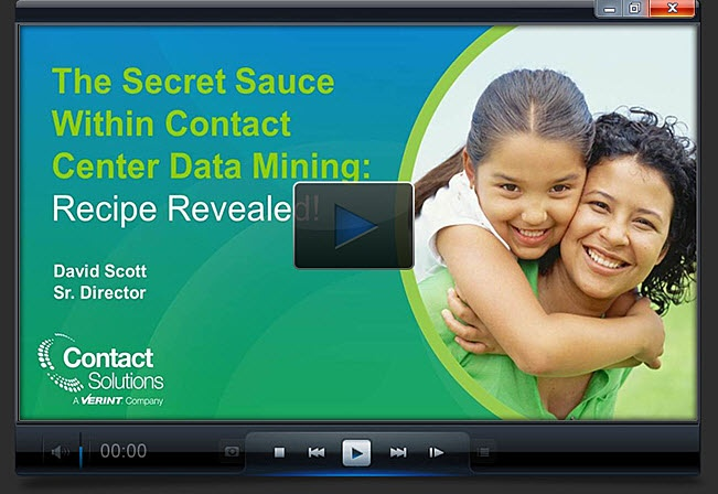 Watch the Contact Center Data Mining Video