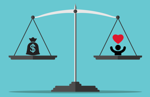 balance scales between cost and CX
