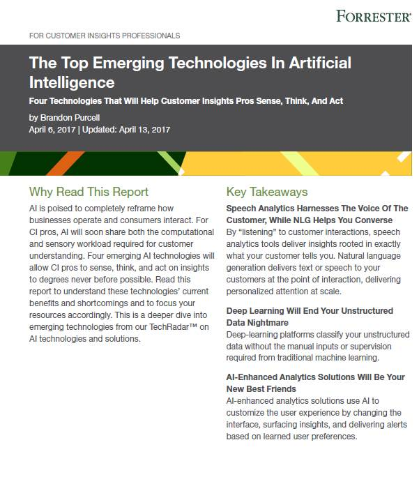 Forrester Top 4 AI Technologies